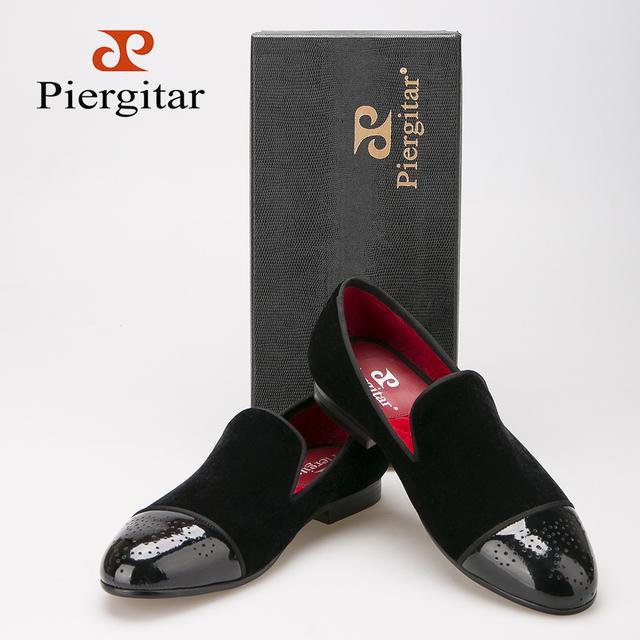 Piergitar Новый стиль лакированной кожи ног с баллок удар ручной бархатные туфли ...