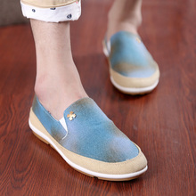 2016 Limited Sale Rubber Led Shoes Yeezy Canvas Shoes Men For Casual British Wind Fashion Sackcloth Lazy Doug Soft Bottom Drive(China (Mainland))