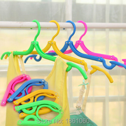 Portable Traveling Foldable Fold Plastic Clothes Hanger Hook Drying Rack HOT(China (Mainland))
