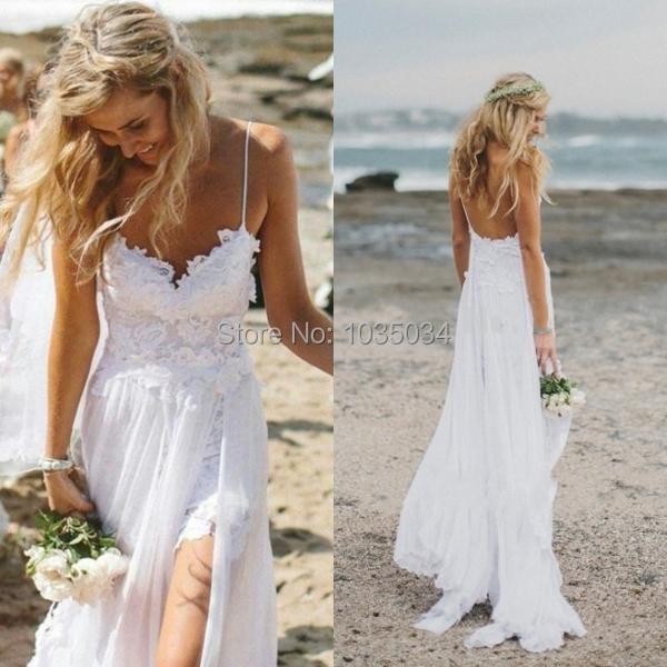2016 течет шифона пляж свадебные платья бретельках спинки аппликации кружева развертки ...