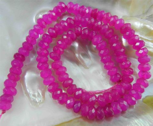 "Fine! 4X6mm Faceted Dark Pink Red Ruby Roundel Loose Beads Strand 15""(China (Mainland))"