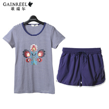 Song Riel summer fashion striped casual short sleeved couple home service men Lingerie Sets Tone teaser