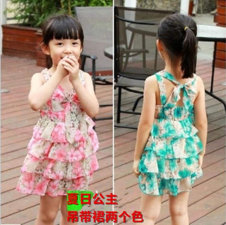 2015 New Summer Cute Baby Girls Dress Ball Gown Sleeveless Fashion Butterfly Printing Children Girls Dresseses(China (Mainland))