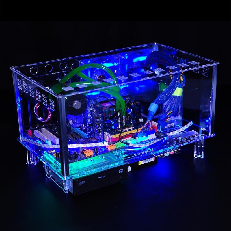 QDIY PC-D779XM Horizontal MircoATX HTPC Acrylic Transparent Desktop PC Water Cooling Computer Case(China (Mainland))
