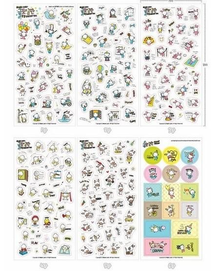 6 sheets/set Cartoon Bear Duck Rabbit Animal Transparent Decoration Stickers DIY Stationery Diary Label(China (Mainland))