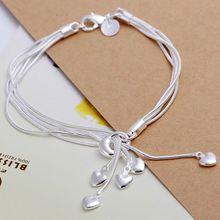 H067 925 jewelry silver plated bracelet, 925-sterling-silver  fashion jewelry Heart Pendant Bracelet /aksajbza bihajzoa(China (Mainland))