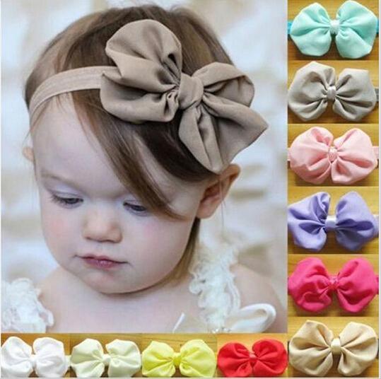 Шифон бантом повязки сплошной цвет девочка упругой ленты для волос головные уборы ...