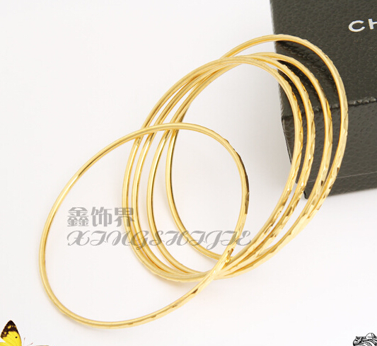 New Temperament OL Fashion 24k Gold Plated Indian Bangles set Fashionable Simple high quality wholesale(China (Mainland))