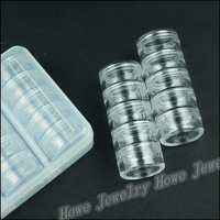 Wholesale 1pcs Hot Portable 25 Lattice Transparent Plastic Box 5 Layer Cylindrical Knob Jewelry Storage Box  Makeup  Jewelry Box