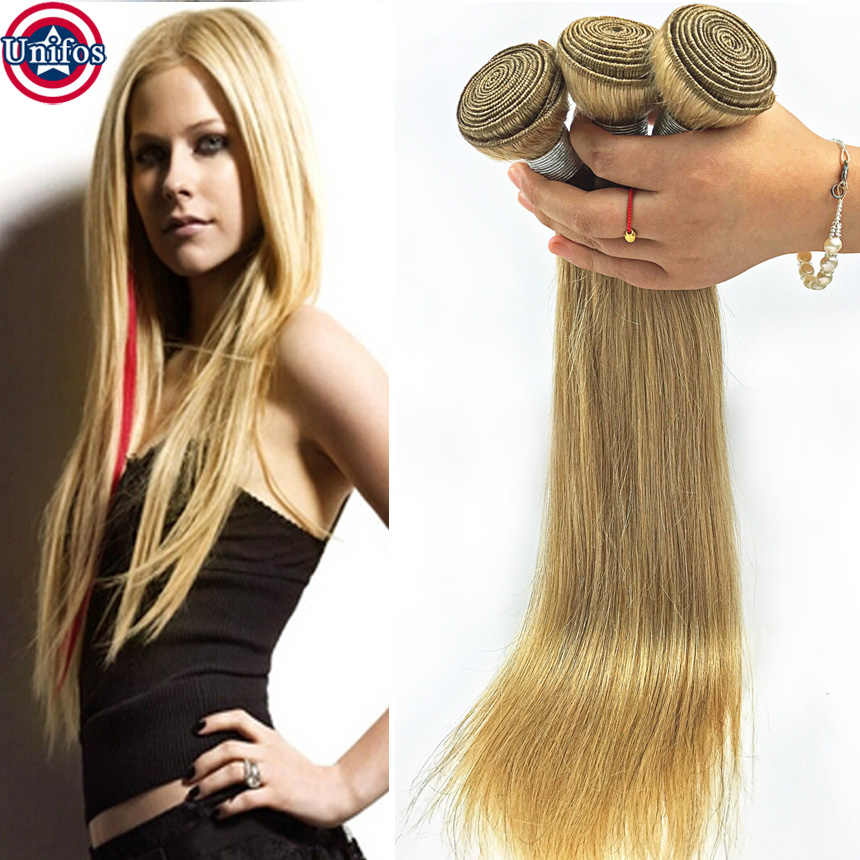 Honey Blonde Brazilian Hair Weave 3pcs Lot Blonde Straight Cheap Human Hair Extensions Weft Tissage Brazilian Blonde Virgin Hair