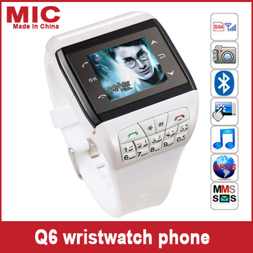"""2013 Wrist Watch Cell Phone with keypad AT&T Mobile quadband single SIM Bluetooth 1.5"""" Touch Screen Watch mobile Phone Q6 P127(China (Mainland))"""