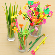 12pcs/1 lot Fashion Hot creative stationery Bloom Sweet Lucky Flora flowers Pen design Ballpoint pen Free shipping Stationery