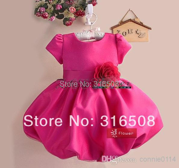 New Design Fashion Kids Girl Formal Dresses Princess Party Dress Summer Dress New Dress With A Flower In Rose<br><br>Aliexpress