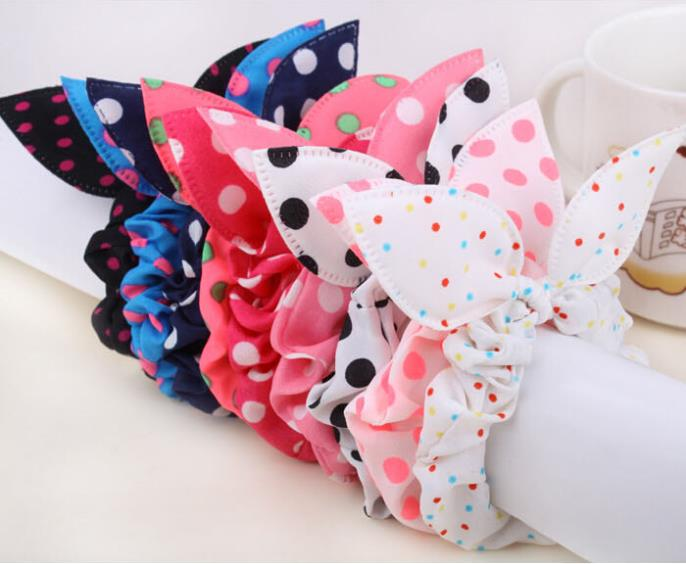FS141 mix wholesale hot New Arrive! New Cute Dot Fabric Rabbit Ear girls woman hairbands Hair rope for women free shipping(China (Mainland))