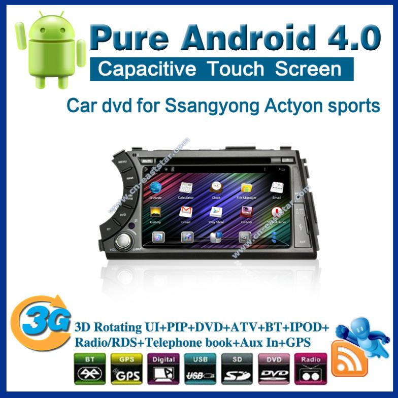Pure android 4.0 Car DVD for SsangYong Kyron with Radio GPS PC USB Bluetooth Car Kit TV 1G CPU Wifi 3G Free shipping 2390(China (Mainland))
