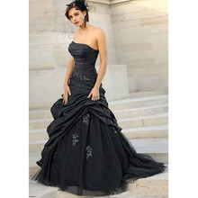Gothic Wedding Dresses 2016 A Line Strapless Black Taffeta Sleeveless Beaded Appliques Plus Size Bridal Gowns Vestido de noiva(China (Mainland))