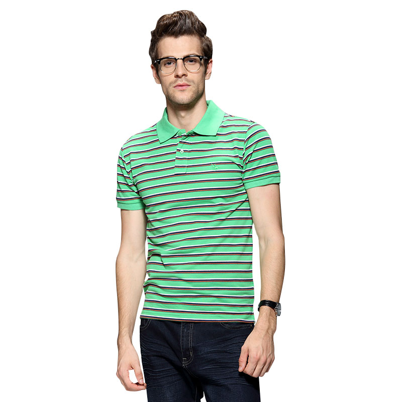 2016 New Fashion Men's Short Sleeve Polo Shirts Casual Turndown Solid Color Striped Clothing Jerseys Golf Tennis Camisa Polo(China (Mainland))