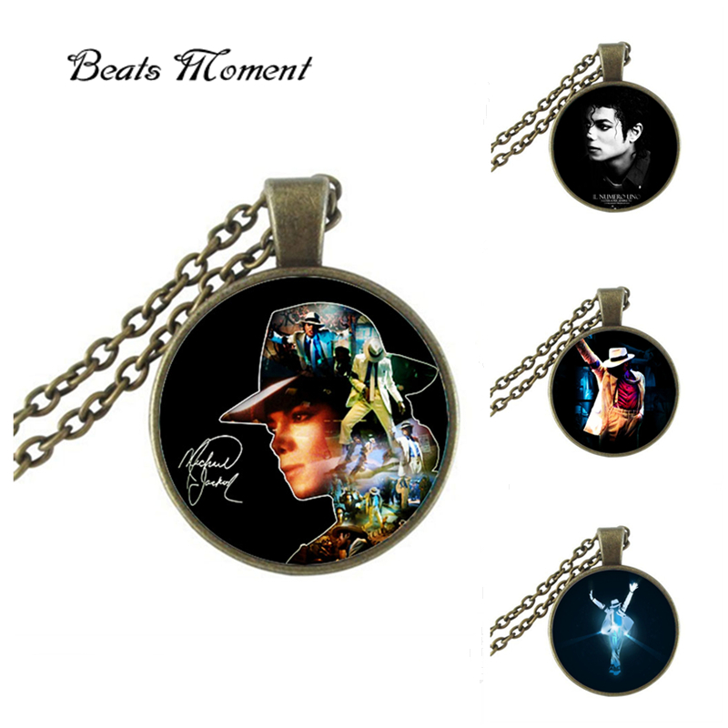 Michael Jackson Pendant Necklace B&M 2016 New Vintage Glass Necklace Michael Jackson Long Necklaces For Women Cheap(China (Mainland))
