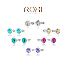ROXI Free Shipping Classic Genuine Austrian Crystals White Stud Earrings Best Gift For Girlfriend 100% Pure Hand Made,2020905210(China (Mainland))