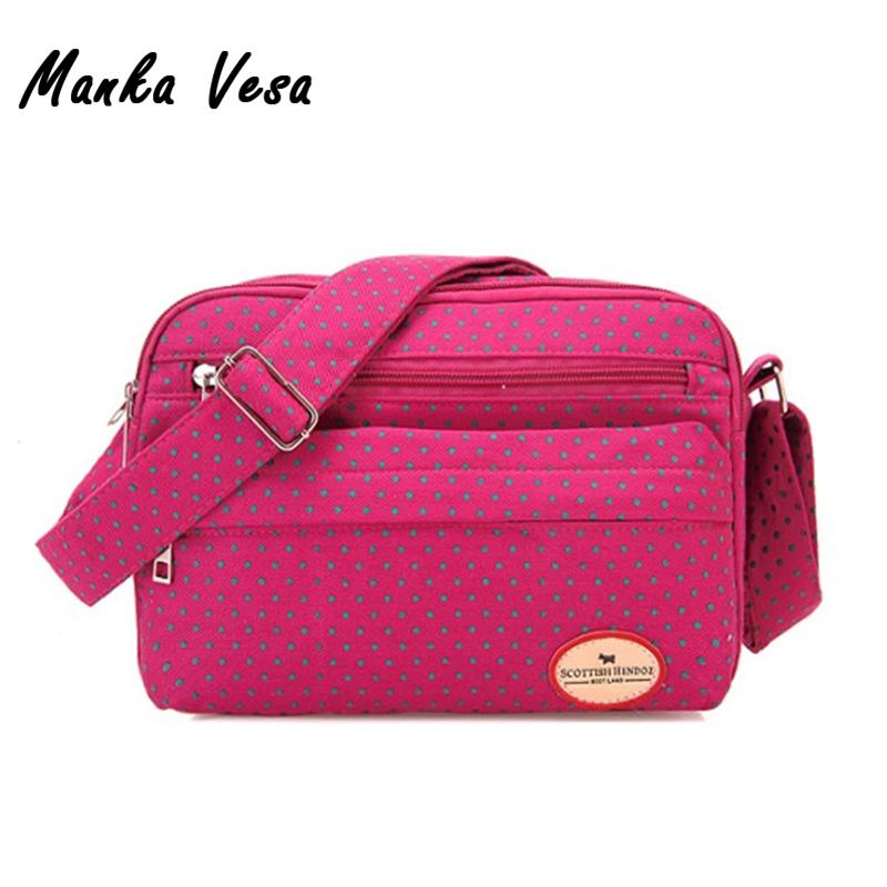 Manka Vesa 2016 Fashion Polka Dot Women Messenger Bag Korean Female Nylon Canvas Casual Shoulder Crossbody Small Bag(China (Mainland))