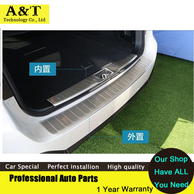 car styling 2PCS Stainless Steel Inside + Outside Rear Bumper Door Sill Protector For 2015 Subaru Outback Trunk pedal<br><br>Aliexpress