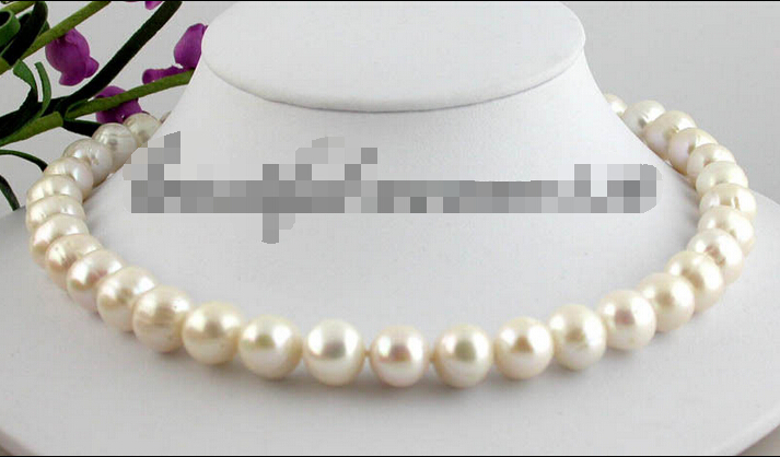 fast Z1599 REAL 17 12mm white round freshwater pearl necklace magnet clasp (A0322)<br><br>Aliexpress