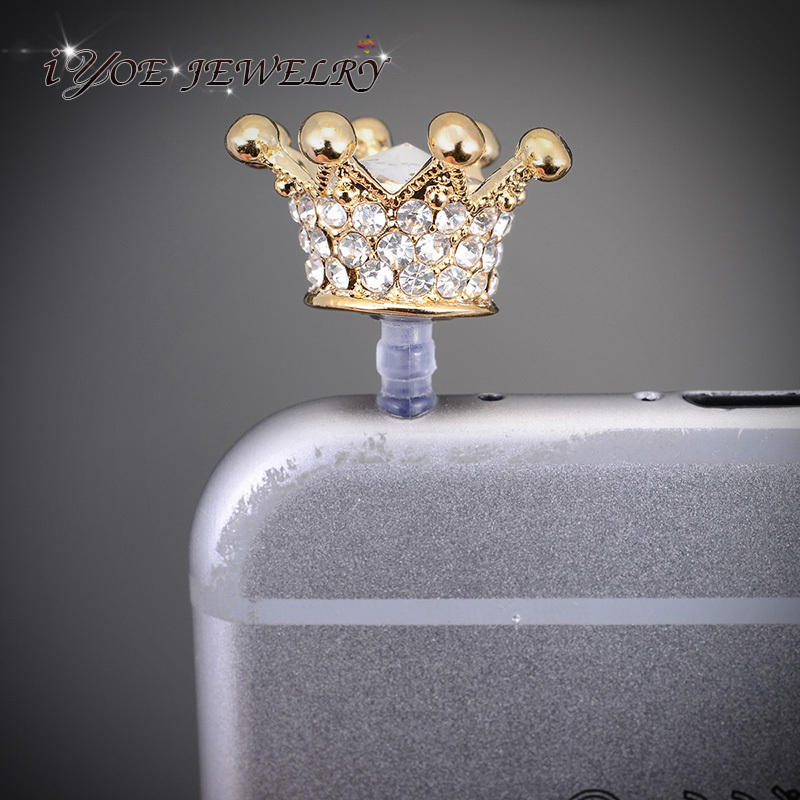 Wholesale Fashion Women 3.5mm Anti Dust Plug Noble Crystal Crown Dust Plug Cell Phone Accessories