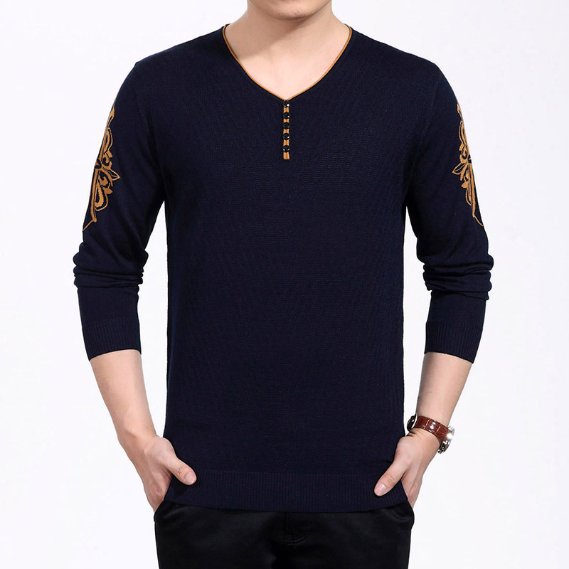 2015 autumn winter men 39 s clothing long sleeve sweater men for Mens long sleeve pullover shirts