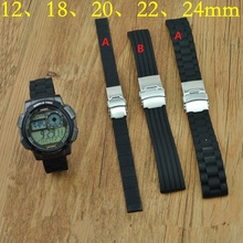 Watchband Black Soft comfortable Silicone Waterproof Diving Watchband Strap Deployment Clasp Free Shipping