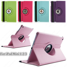 Tablet Case For iPad mini 1 2 3 Case 360 Rotation PU Leather case for Apple Smart cover Mini 1 2 3 flip case with stand function(China (Mainland))