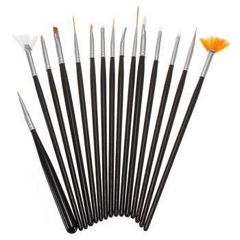 YZWLE 15PCS/Pack Black Professional Acrylic Nail Painting Drawing Pen,Designed UV Gel False Nails Decoration Tools 34