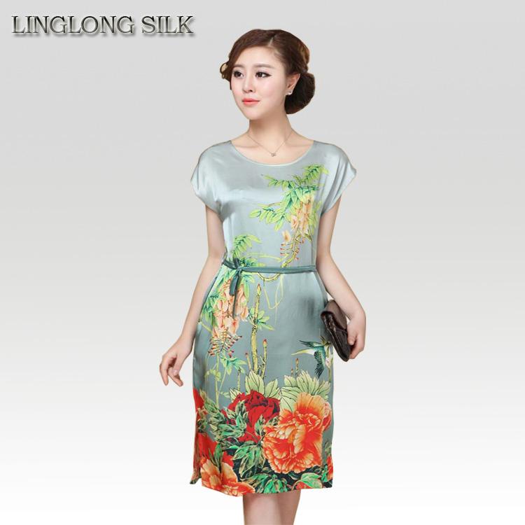 Silk Vintage Straight Dress/100% Natural Mulberry Silk Women Summer Dress 2015 New Styles Long Dresses