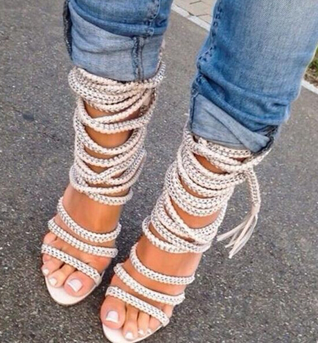 Real Leather Gladiator Sandals Rope Gold Chain Leather Sandals Ankle Boots Fashion High Heel Summer Shoes Woman Sexy Open Toe