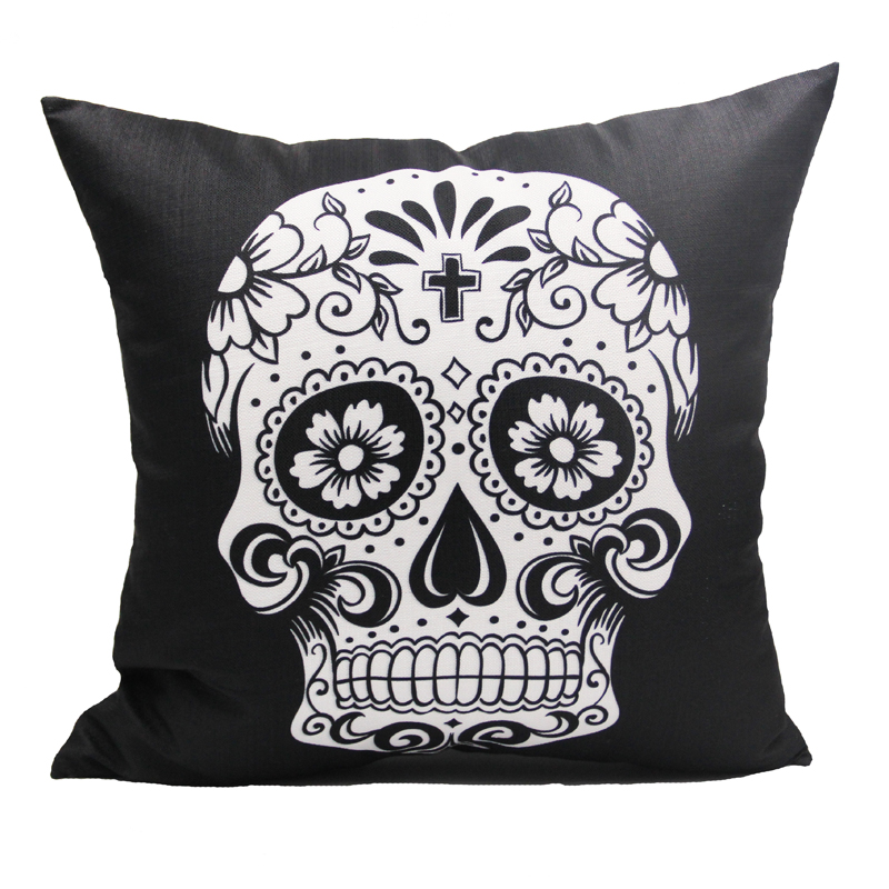 45x45cm Black Skull Halloween All Hallows' Eve Gift Present Linen Cushion Covers Pillow Cases Trick-or-treating with Gift Card(China (Mainland))