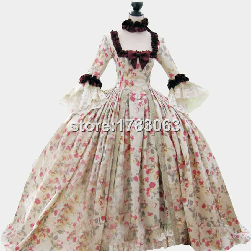 18th century Colonial Georgian Marie Antoinette gown Recently made for the displays at the world famous Dress(China (Mainland))