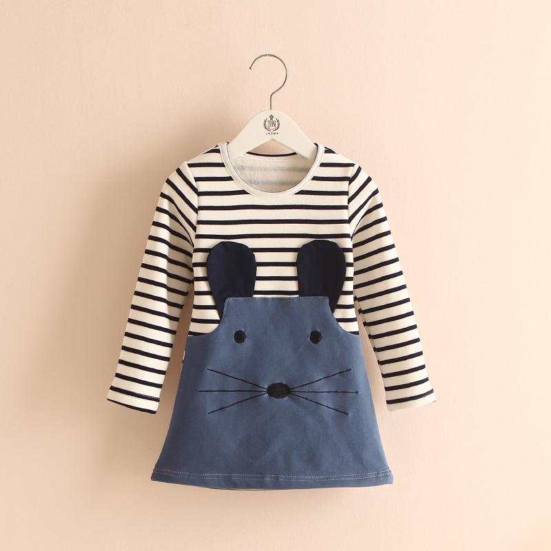 Retail 2-7Y Fall/Winter New Children Clothing Striped Denim Patchwork Cartoon Baby Girls Dress Long Sleeve Fleece Princess Dress<br><br>Aliexpress