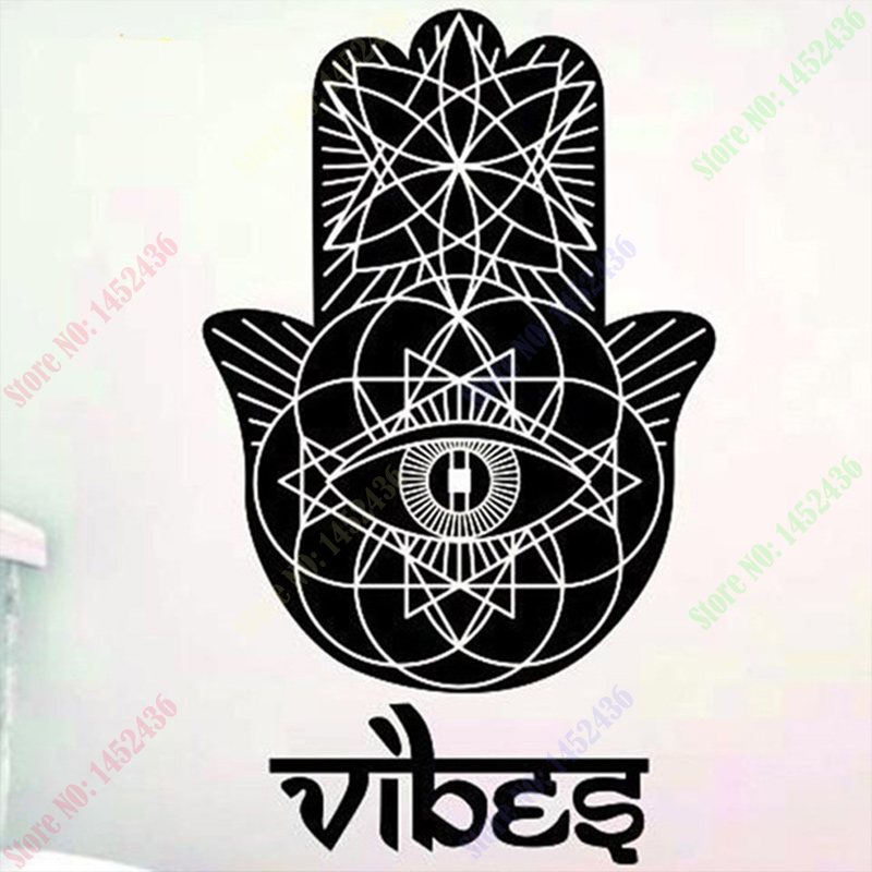 2016 New Wall Decals Vinyl Sticker Yoga Vibes Fatima Hand Hamsa Indian Buddha Background Wall Stickers Home Decor 110X55CM