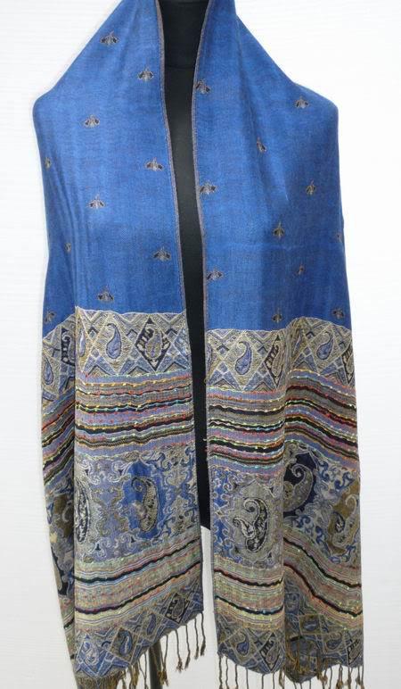 Blue Women's Pashmina Shawls Reversible Scarf Two-Face Wrap Free Shipping(China (Mainland))