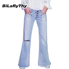 BiLaRyThy Fashion Vintage Women Loose Ripped Holes Cotton Denim Wide Leg Pants Casual Low Waist Tassel Jeans Trousers(China (Mainland))