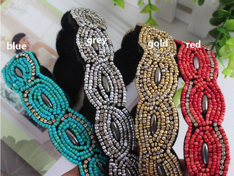 New sparkly white crystal beads twist handmade shining gems design headband for wedding party headband(China (Mainland))