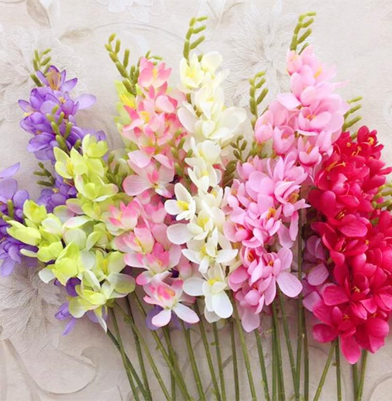 Silk single stem freesia flower fake orchid for wedding