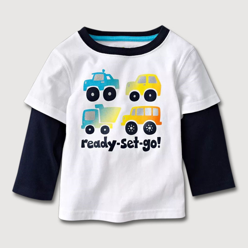 Retail new fall children's T-shirt,white long sleeves kids clothes,1-6 yrs children's clothing,brand cotton baby boys tops tees(China (Mainland))