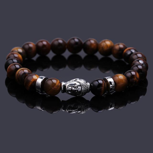 Браслеты черной лавы каменных будда бусины браслет упругой браслет веревку из природного ...