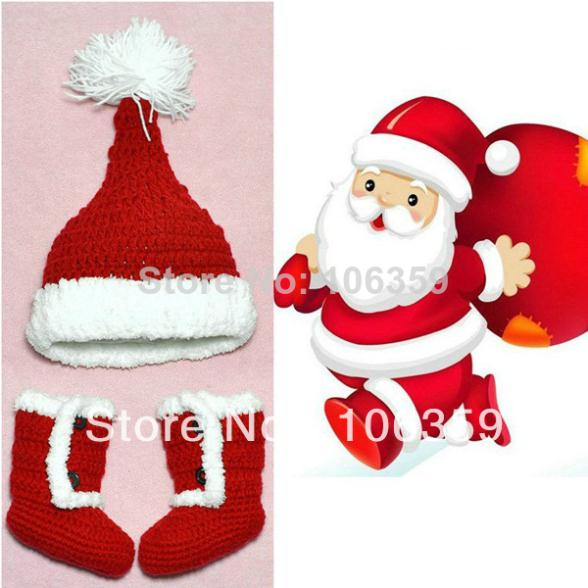 Crochet Baby Santa Booties Pattern : Christmas Elf Baby Hat and Booties Set Crochet Pattern ...