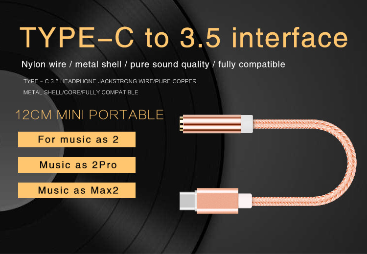 TIANSTON type-c to 3.5 audio adapter music as the phone 2 max2 2pro headphone cable converter