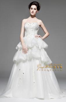 2015 New Arrival Latest NW32010 Luxury 100%Satin Beaded Diamond Wedding Bra Small tail Wedding Dress Summer Newest
