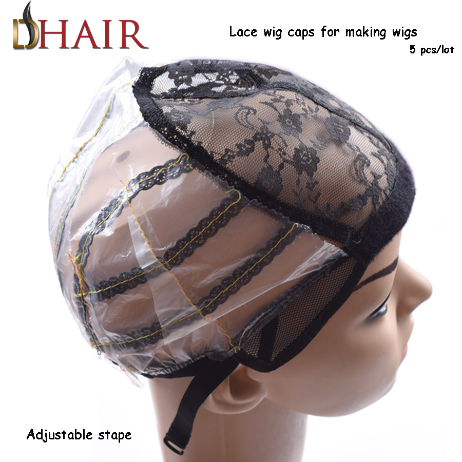 Cheap Good 5 Pcs/Lot Medium Size Black Color Wig Caps For Making Wigs With Adjustable Strap, Swiss Lace Wig Caps For Black Women(China (Mainland))