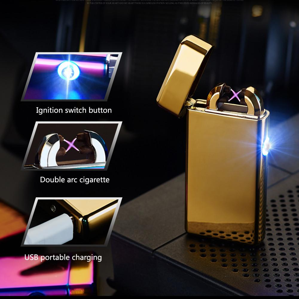 ถูก แฟชั่นArc USBอิเล็กทรอนิกส์แบบชาร์จFlamelessไฟแช็กบางเบา