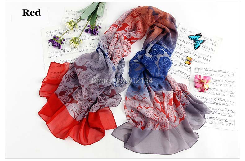 Hot sale high quality soft long chiffon flower printed silk scraf for women multicolor rose print shawl poncho 6pcs/lot(China (Mainland))