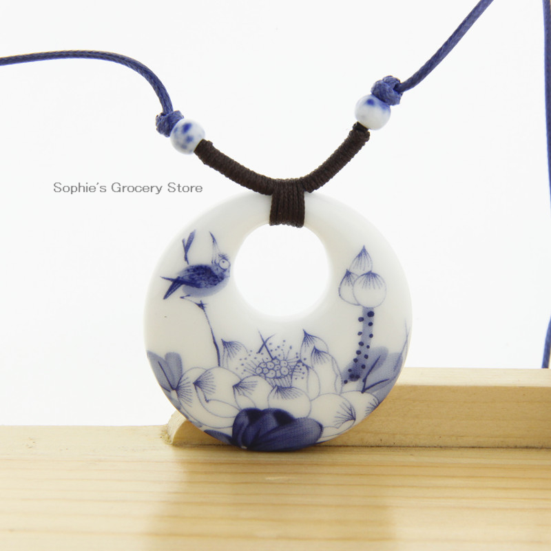 Ceramic Necklace Pendants New Fashion Vintage Handmade Blue And White Jewelry Accessories Wholesale Gifts For Lovers150040(China (Mainland))